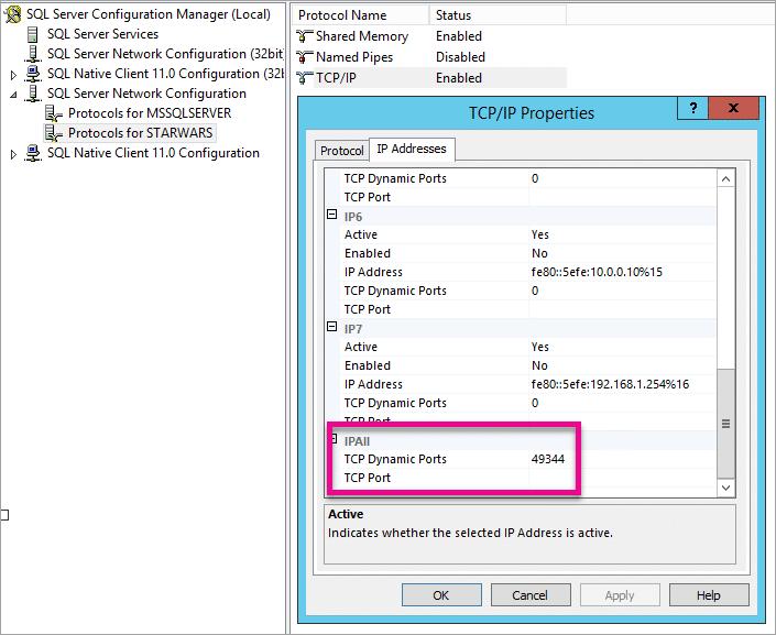 Dynamic Port listed for SQL Server Instance